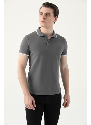 D'S Damat Slim Fit Pike Dokulu T-Shirt Antrasit